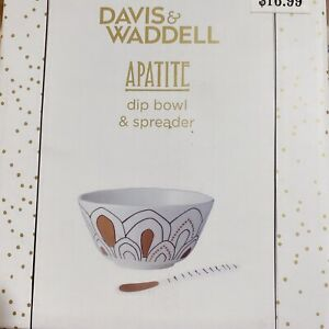 Apatite Dip Bowl And Spreader White& Gold Porcelain With Gift Box