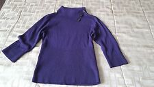 A Byer Women Shirt 3/4 Sleeve Casual Solid Purple Stretchy Medium size
