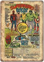 "Mego Toys Superhero Dolls Vintage Comic Ad 10"" X 7"" Reproduction Metal Sign J134"