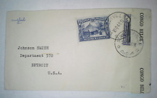 BELGIAN CONGO 1941 WWII Censored Cover addressed to Detroit, MI USA