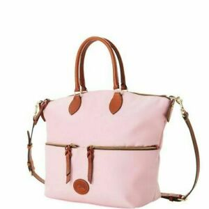 NWT DOONEY & BOURKE LARGE POCKET SATCHEL CROSSBODY LEATHER TRIM LIGHT PINK