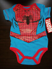BOYS INFANT MARVEL SPIDER MAN RED BLUE SIZE 3-6 MONTHS SHORT SLEEVE CREEPER NWT