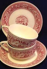 2 sets Royal Ironstone Memory Lane c. 1965 Red Transferware Cups Saucers USA