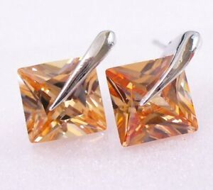 Men Medium 2 Stud Earrings White Gold Plated 8mm Square Champagne Cubic Zirconia