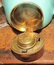 Antique Leather Covered Traveling Inkwell English 1870