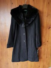 RRP £270 - RALPH LAUREN WINTER COAT Black Wool Fur Midi Longline Jacket UK 4 NEW