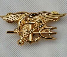 Navy Seal Eagle Anchor Trident Mini Medal Uniform Insignia Badge Gold- US013