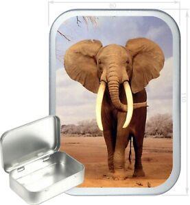 Elephant Gift Box,150ml Silver Hinged Tin,Tobacco Tin, Storage Tin