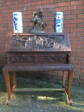 Museum Stunning Quality Antique Style 1930's Oriental Carved Library Desk