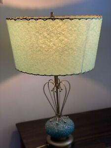 Mid century Teal Ceramic Base Brass lamp