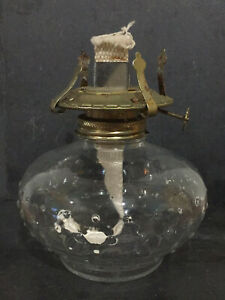 VINTAGE Austrian CLEAR BUBBLE GLASS BRASS METAL PARAFFIN LAMP LIGHT