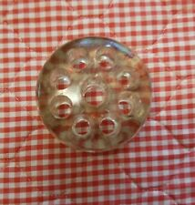 Vintage Flower Frog Clear Glass, 9 hole 3 ins across 1.25 ins tall