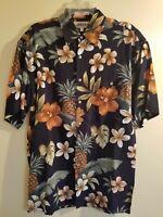 Campia Moda Mens Hawaiian Shirt Black Brown Floral Size Small Short Sleeves