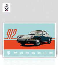 "Vintage Porsche 912 Poster. Art Print on Aluminum 18""x24"""
