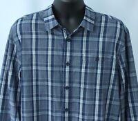 Eddie Bauer Mens 2XL Shirt Button Front L/S Blue White Plaid Extra Large