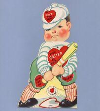 Vintage Valentine's Day Card VALENTINE Baseball BATTER BE MINE Mechanical