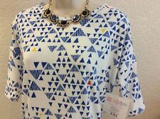 LULAROE IRMA Tunic Top XXS Unicorn Triangles Loose Fit NEW White Blue #b