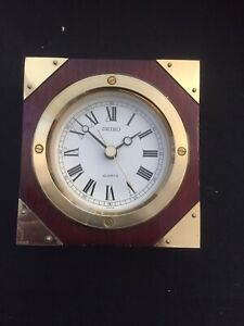 Seiko - Quartz Wooden/Brass Table Desk Clock. Square. Roman Numerals. Battery