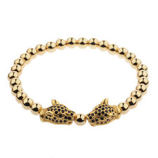 Gold Handmade 18kt Gold Plated Zircon Panther Leopard Head Macrame Bracelet