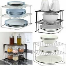 3 TIER KITCHEN CORNER PLATE RACK STORAGE HOLDER STAND PLATES CUPBOARD ORGANISER