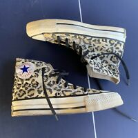 Vintage 80s Made in USA Converse Chuck Taylor leopard Print Glow In The Dark 3.5