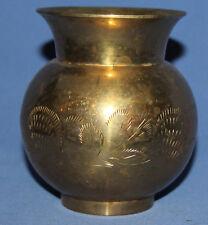 Vintage Ornate Floral Engraved Brass Vase