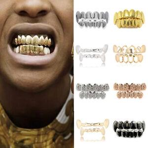 Punk Cosplay Halloween Party Hip Hop Teeth Grillz Caps Top & Bottom Grill Set #