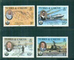 Turks and Caicos 1985 ICA Aviation Pioneers Goddard Sikorsky Roe NH SG 834-837