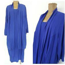 Vintage 80s Blue Duster Dress Size 22 Plus Knee Length Mother of the Bride