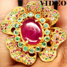 NATURAL! 11 X 14mm. PINK RUBY, EMERALD, SAPPHIRE..925 STERLING SILVER RING SZ 8