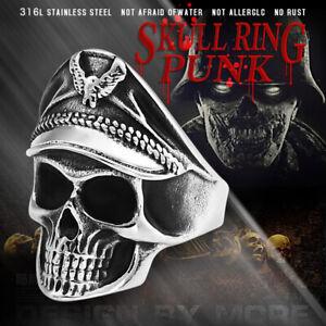 Mens Jewelry Skull Head SKELETON POLICE HAT BIKER BIKERS RING Stainless Steel