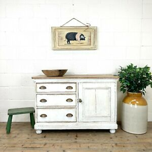Distressed Antique Pine Cupboard with Painted Base (M-2907) - FREE DELIVERY*