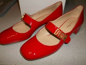 Authentic Red Christian Dior Baby D Ballerina Mary Jane Heels Size 39.5 ~ NEW