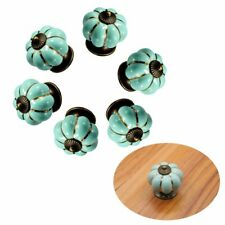 6Pcs Pumpkin Vintage Ceramic Door Knobs Cabinet Drawer Wardrobe Cupboard Handle