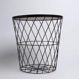 Black Metal Wire Round Wooden Top Basket Coffee Side Table Lidded Storage Basket