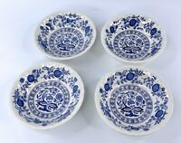 Lot Of 4 Enoch Wedgwood Blue Heritage Onion Pattern Berry Bowls 5 Inch