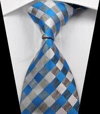 New Classic Checks Blue Gray Silver JACQUARD WOVEN 100% Silk Men's Tie Necktie