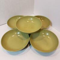 Vintage Set Of 5 TexasWare Or DallasWare Melmac Green Cereal Salad Bowls G20