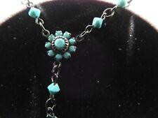 Austrian Crystal USA Faux Turquoise Glass Beaded Dangle Gun Tone Choker Necklace