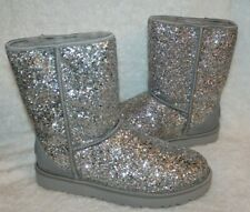 NIB Women's Shoes UGG CLASSIC SHORT COSMOS Sequin Boots 1103796 Silver 11
