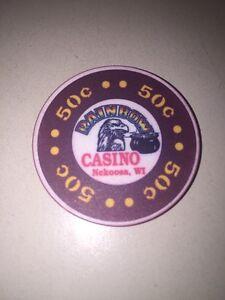 RAINBOW CASINO - NEKOOSA WI Casino CHIP 50 Cents Eagle Pot Of Gold Obsolete