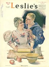Sailor with Mother  - Making a Pie  -  by F. X. Leyendecker  -  WWI  - 1919