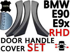 Door Handle Cover Set BMW 3 Series E90 E91 - 3x Black Leather Handle Cover (RHD)