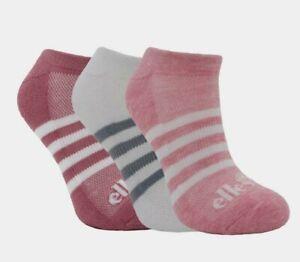 Ellesse  Trainer socks 3 Pack Low Cut cushioned UK 4-8 EUR 37-42 Pink White