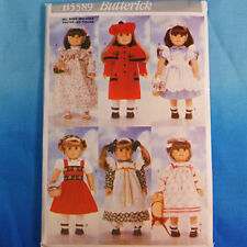 """Butterick 5589 18"""" Doll Clothes Patterns 6 Designs New!"""