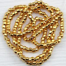 RARE!!! 9/0 3CUT 24KT GOLD PLATED CZECH SEED BEADS - 1 STRAND