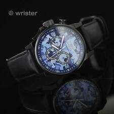 Invicta I-Force Blue Camouflage Chronograph Black Leather Strap 46mm Men's Watch