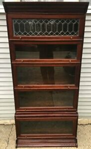 Mahogany Stacking Bookcase w/ Beveled Leaded Glass Door