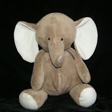 """Carters Brown White Ears Elephant Taupe Gray Tan Plush Stuffed Baby Toy 12"""""""