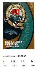 Ticket Football Kansas City Chiefs 2002 10/20 Denver Broncos Priest Holmes 3TD